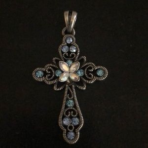 Silver and blue Crystal Cross